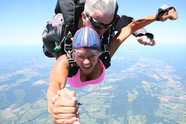 better than hang gliding from Ravens Roost or bungee jummping Type-A balls to the wall high speed  gift certificate for outdoor type thrill seeking adventure loving first time sky diving in DC/NOVA